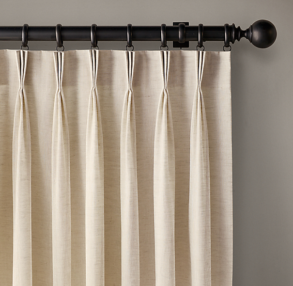 Custom Belgian Sheer Linen 3 Fold French Pleat Drapery