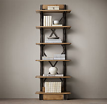 Oak & Iron Cross-Brace Single Shelving