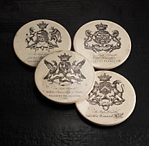 18Th C. English Armorial Crest Coasters (Set of 4)