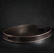 Vintage Hotel Large Oval Tray With Handles