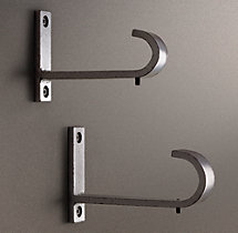 Industrial Hand-Forged End-Brackets (Set of 2) - Vintage Nickel