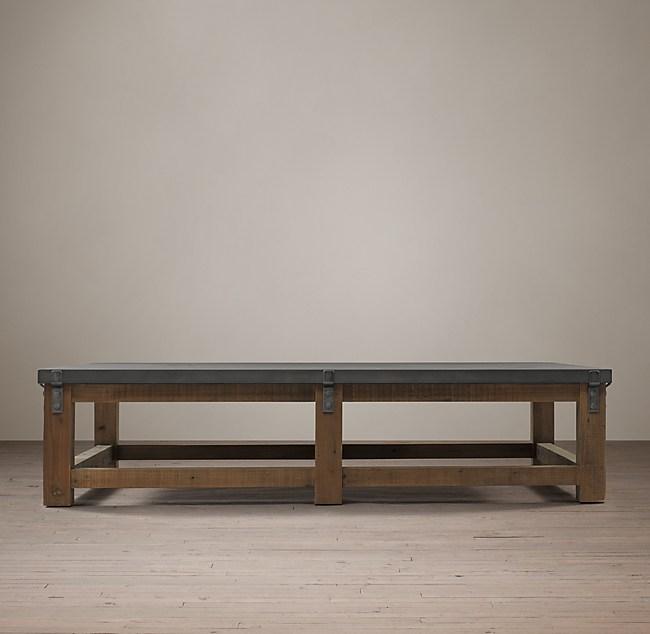 wood & zinc top coffee table