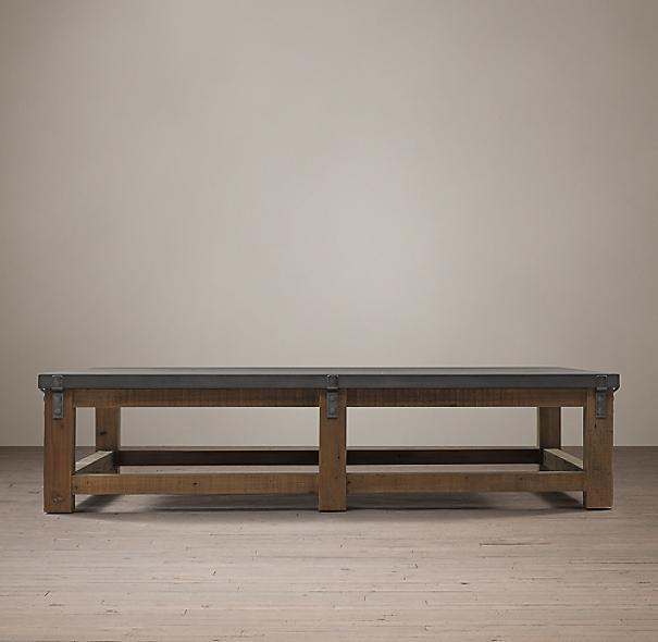 Reclaimed Wood & Zinc Strap Coffee Table