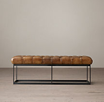 "50"" Tufted Leather & Metal Bench"
