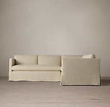 Preconfigured Belgian Classic Shelter Arm Slipcovered Corner Sectional