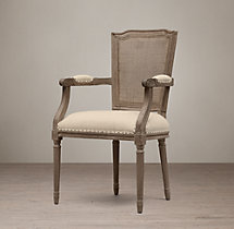 Vintage French Nailhead Cane Back Fabric Armchair