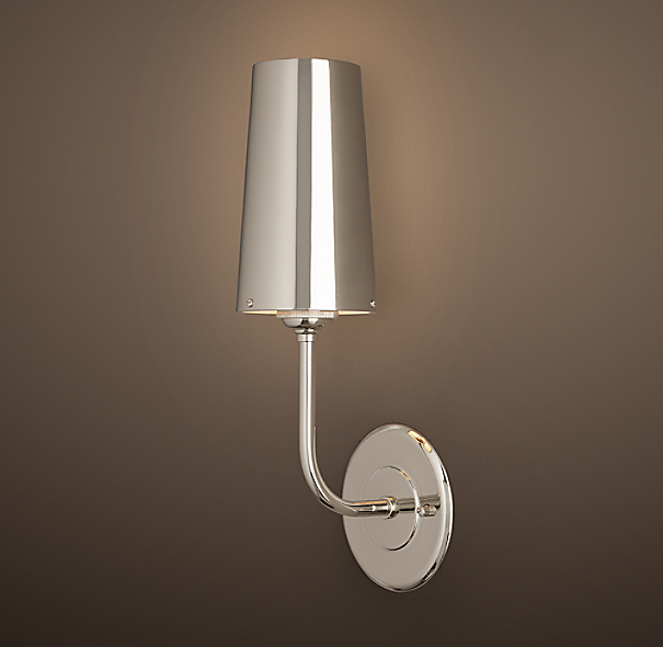 Restoration Hardware Modern Picture Light Sconce 30: Modern Taper Sconce With Metal Shade