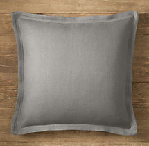 Custom Belgian Textured Linen Flanged Square Pillow Cover