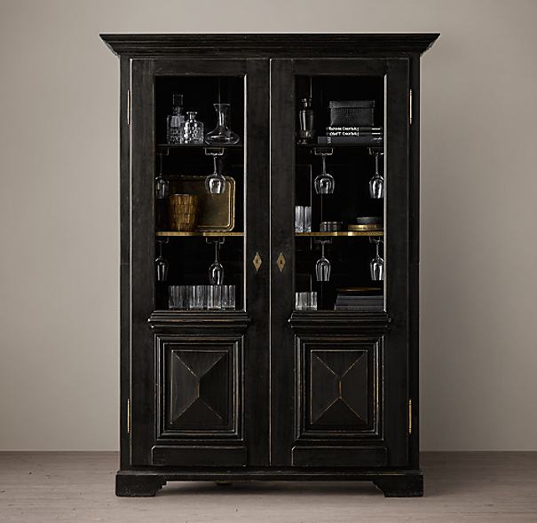 18th C French Baroque Double Door Bar Cabinet