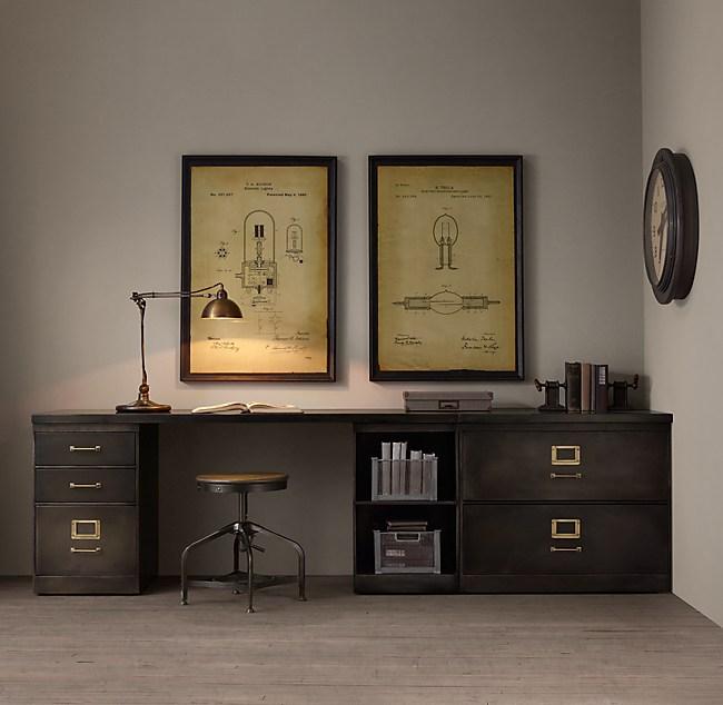 1940s Industrial Modular Office Triple Storage Desk System