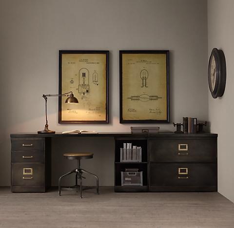 1940s Modular Office Triple Storage Desk System