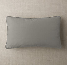 Custom Thai Silk Solid Piped Lumbar Pillow Cover