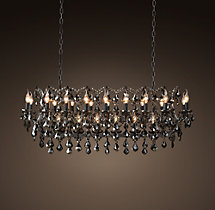 19th C. Rococo Iron & Smoke Crystal Rectangular Chandelier 52""