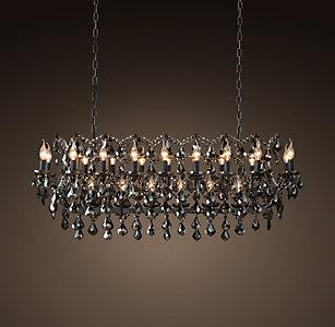 19th C Rococo Iron Smoke Crystal Rectangular Chandelier 52