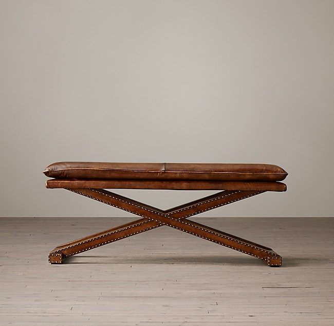 Leather X Base Bench