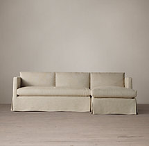 Preconfigured Belgian Classic Shelter Arm Slipcovered Right-Arm Chaise Sectional