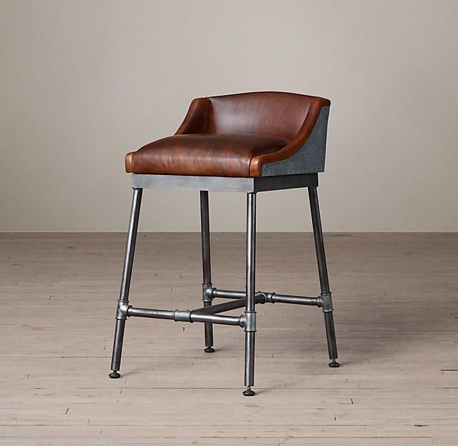 6e717b2337d9 Iron Scaffold Leather Counter Stool