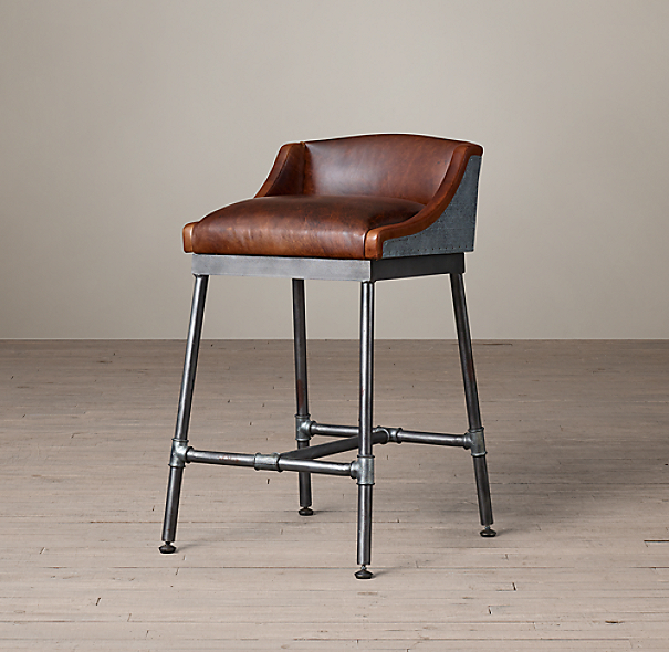 Iron Scaffold Leather Counter Stool