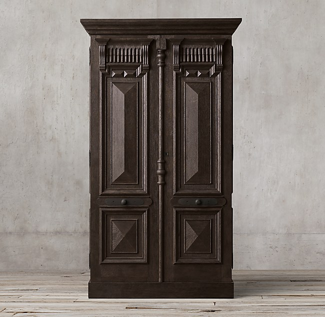 19th C French Carved Door Panel Double Door Cabinet