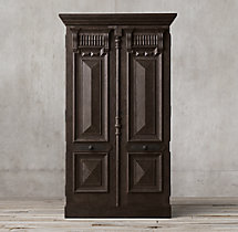 19th C. French Carved Door Panel Double-Door Cabinet