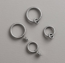Cast Iron Drapery Rings (Set of 7) - Vintage Nickel