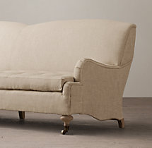 7' 19th C. English Roll Arm Upholstered Sofa