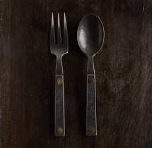 Hammered Steel Rivet 2-Piece Salad Serving Set
