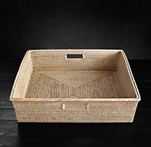 Handwoven Rattan Medium Rectangular Tray