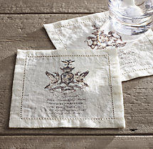 18Th C. English Armorial Crest Cocktail Napkins (Set of 4) - Ivory