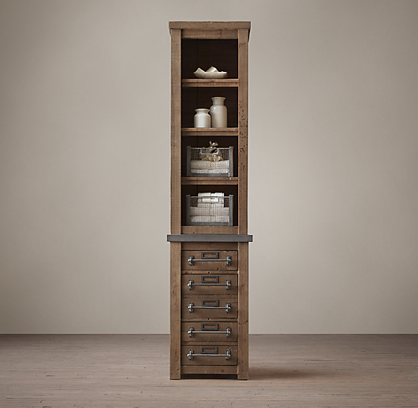 Early 20th c mercantile tall bath cabinet for Restoration hardware bathroom cabinets