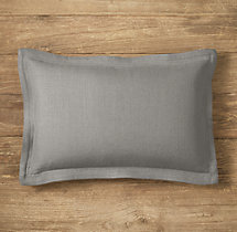 Custom Belgian Textured Linen Flanged Lumbar Pillow Cover