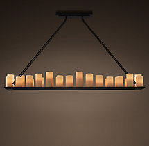 Pillar Candle Rectangular Chandelier 70""