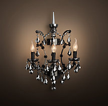 19th C. Rococo Iron & Smoke Crystal Sconce 18""