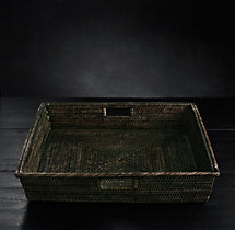 Handwoven Rattan Large Square Tray