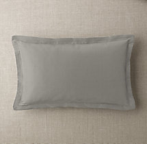 Custom Thai Silk Solid Flanged Lumbar Pillow Cover