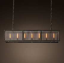 Riveted Mesh Rectangular Chandelier 60""