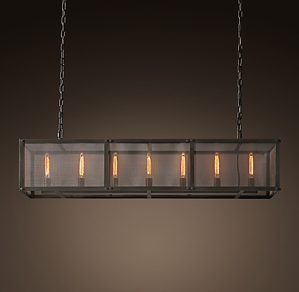 Riveted Mesh Rectangular Chandelier 60 Quot
