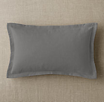 Custom Brushed Linen Cotton Flanged Lumbar Pillow Cover