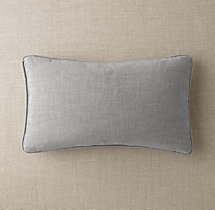 Custom Perennials® Classic Linen Weave Piped Lumbar Pillow Cover