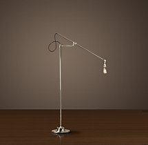 20Th C. Factory Filament Bare Bulb Floor Lamp