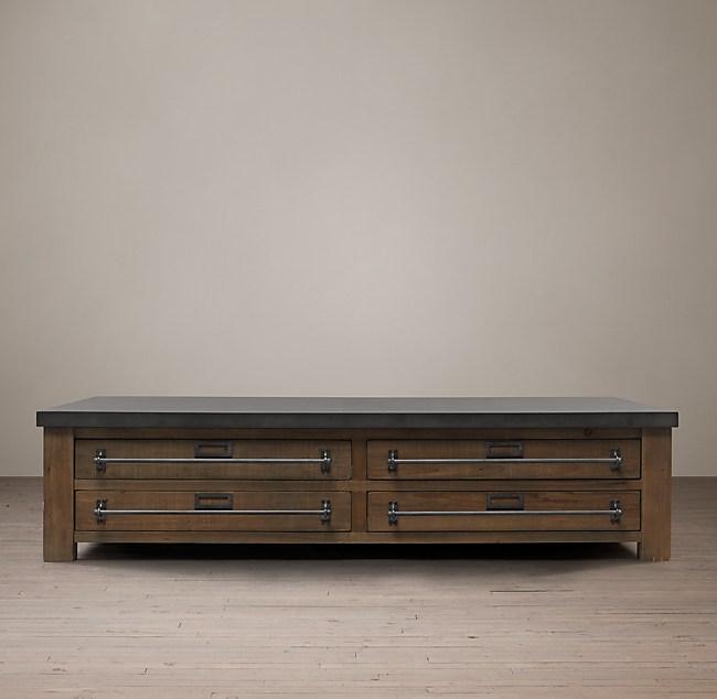 20th c. zinc-top mercantile coffee table