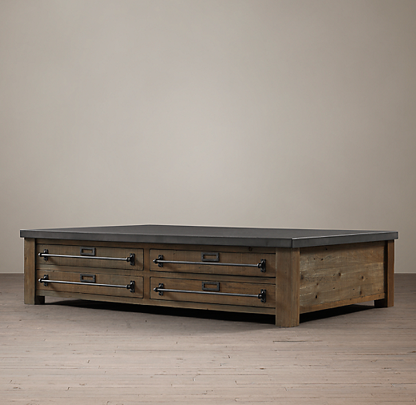 Early 20th C Zinc Top Mercantile Coffee Table