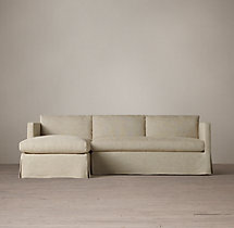 Preconfigured Belgian Classic Shelter Arm Slipcovered Left-Arm Chaise Sectional