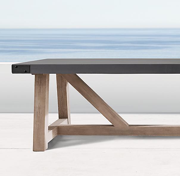 french beam concrete teak rectangular dining table