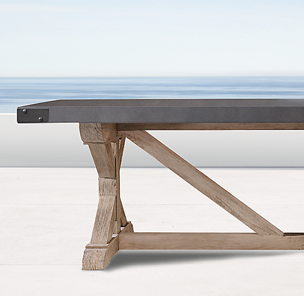 belgian trestle concrete teak rectangular dining table