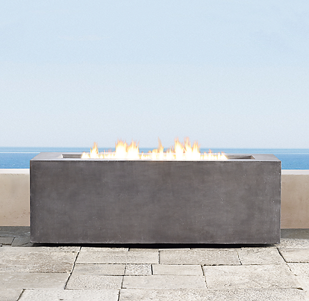 Mendocino propane tall rectangle fire table for Concreteworks fire table