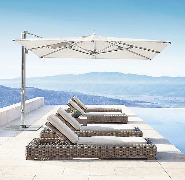 13 39 tuuci ocean master max cantilever square polished for Restoration hardware outdoor umbrellas
