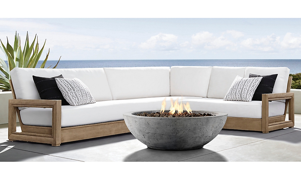 shop Costa Weathered Teak Sectional & Chaise