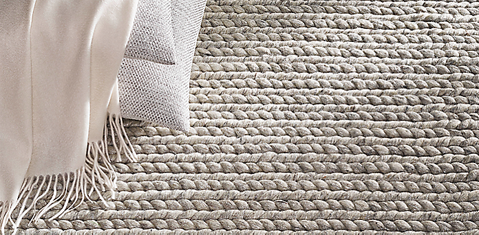metallic chunky braided wool rug collection | rh