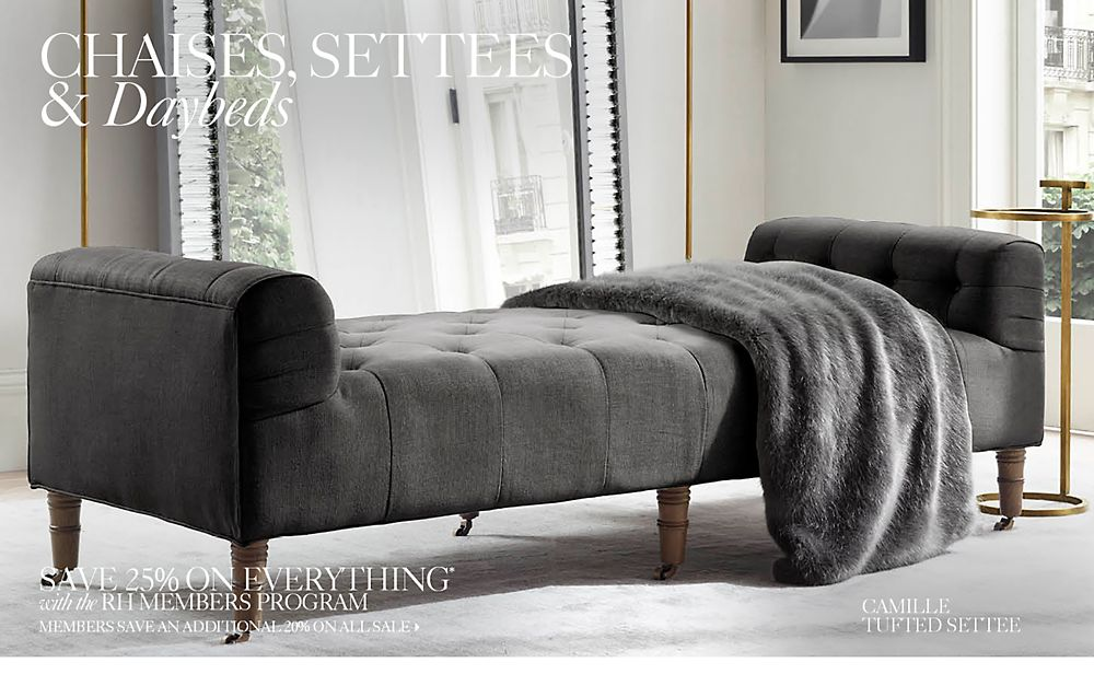 settees on sale chaises settees daybeds rh